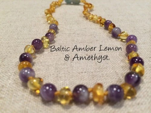 Infant Newborn Fussiness Polished Lemon Amethyst Baltic Amber Necklace For Newborn