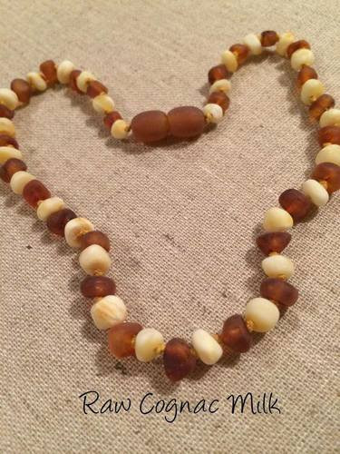 "Infant Newborn Fussiness Raw Unpolished 12 5"" Milk Cognac Baltic Amber Necklace"