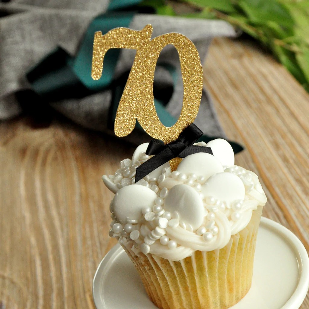 Décoration De Cupcake 70th Birthday Decoration Made In 1 3 Business Days 70th Cupcake Topper 1 Set Of 12 Toppers