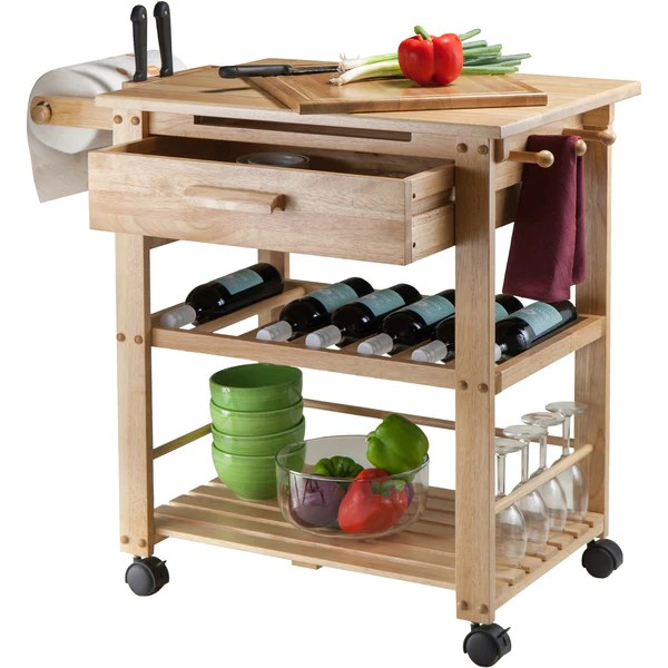 Kitchen Island Cart Wine Rack Winsome Finland Portable Kitchen Cart With Wine Rack
