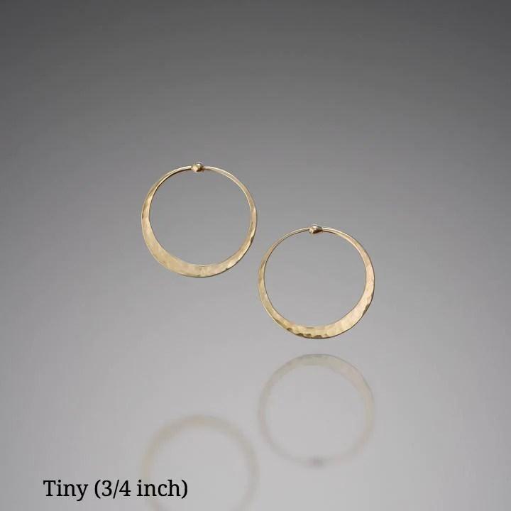 Handmade Solid 14k Gold Hoop Earrings
