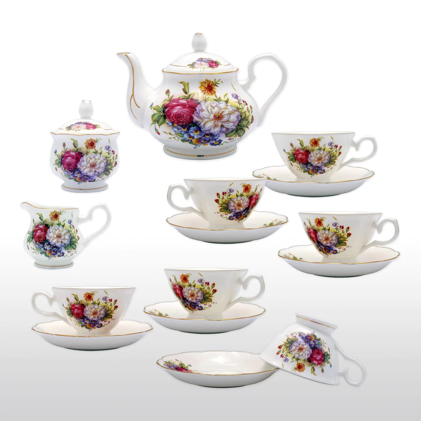 Teapot With Cup Fine Bone China 15 Piece Coffee Tea Set Colorful Floral Painting With Teapot Cups Saucers Sugar Bowl And Creamer