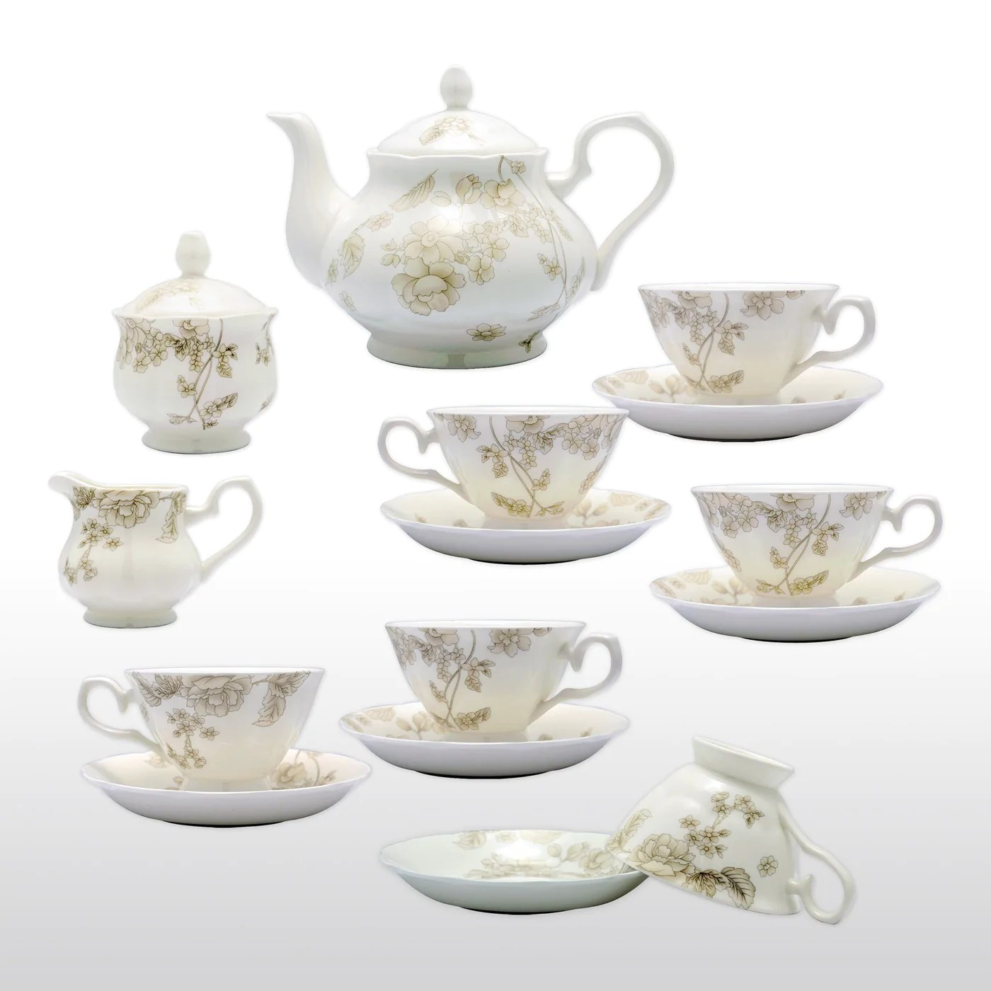 Teapot With Cup Fine Bone China 15 Piece Coffee Tea Set Neutral Colors With Teapot Cups Saucers Sugar Bowl And Creamer