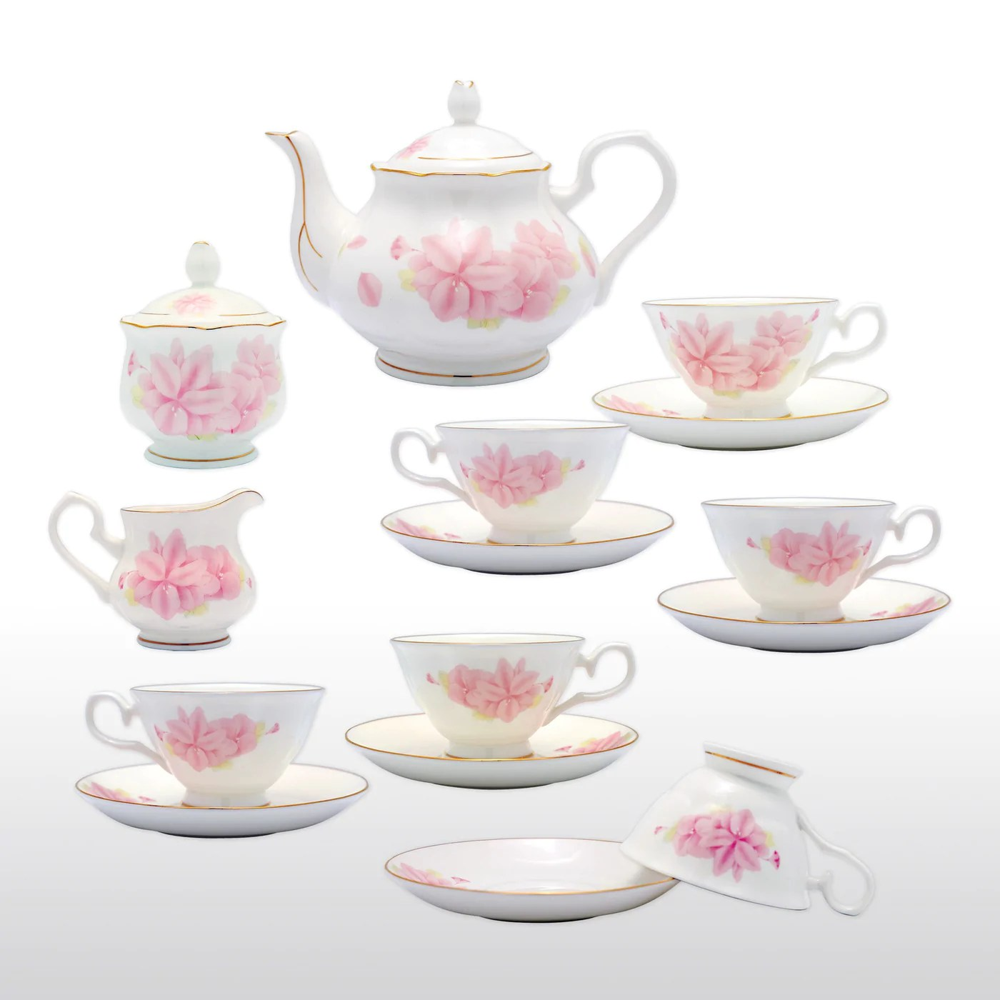 Teapot With Cup Fine Bone China 15 Piece Coffee Tea Set Pink Kapok With Teapot Cups Saucers Sugar Bowl And Creamer