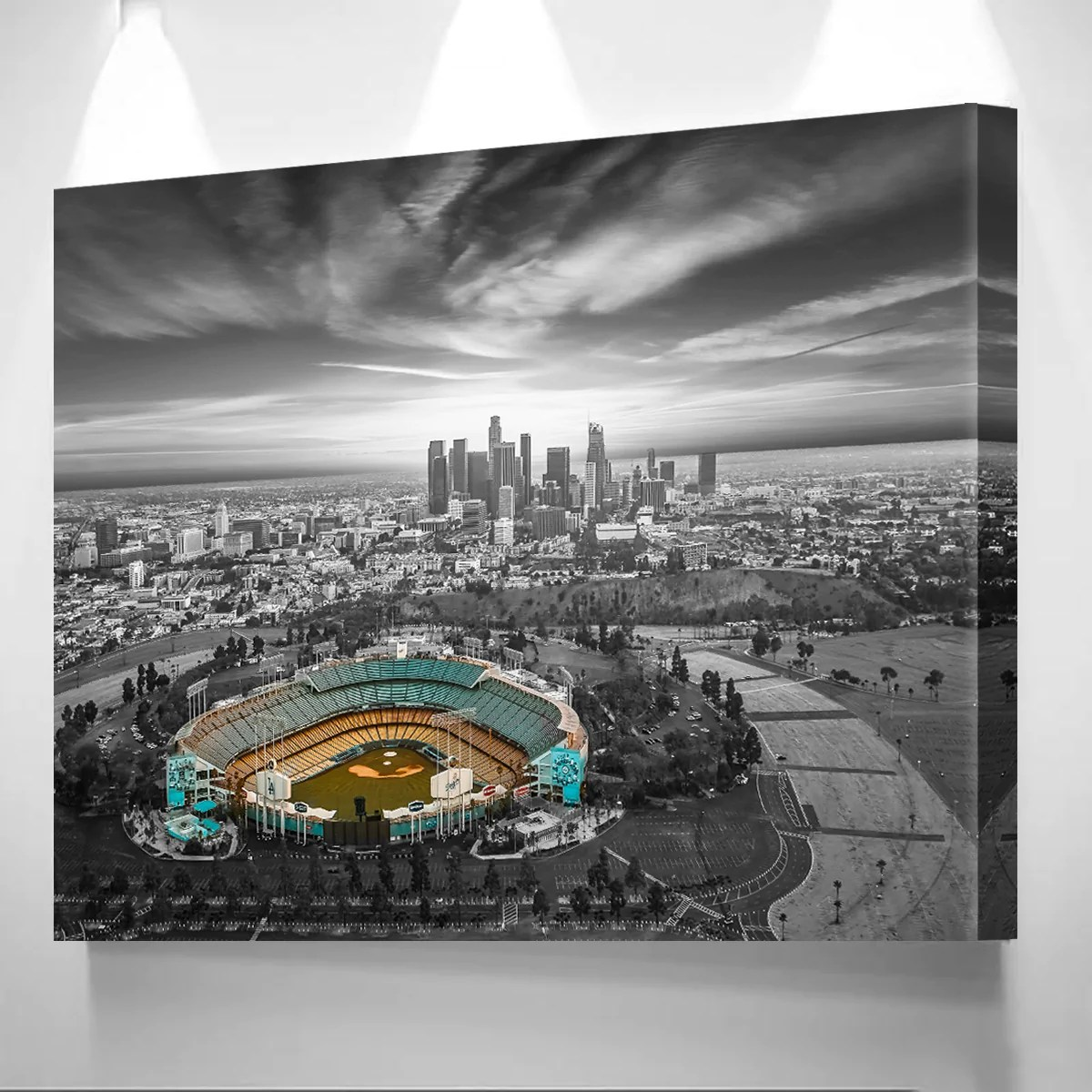 Black And White Canvas Pictures Black White Blue Chavez Ravine Canvas