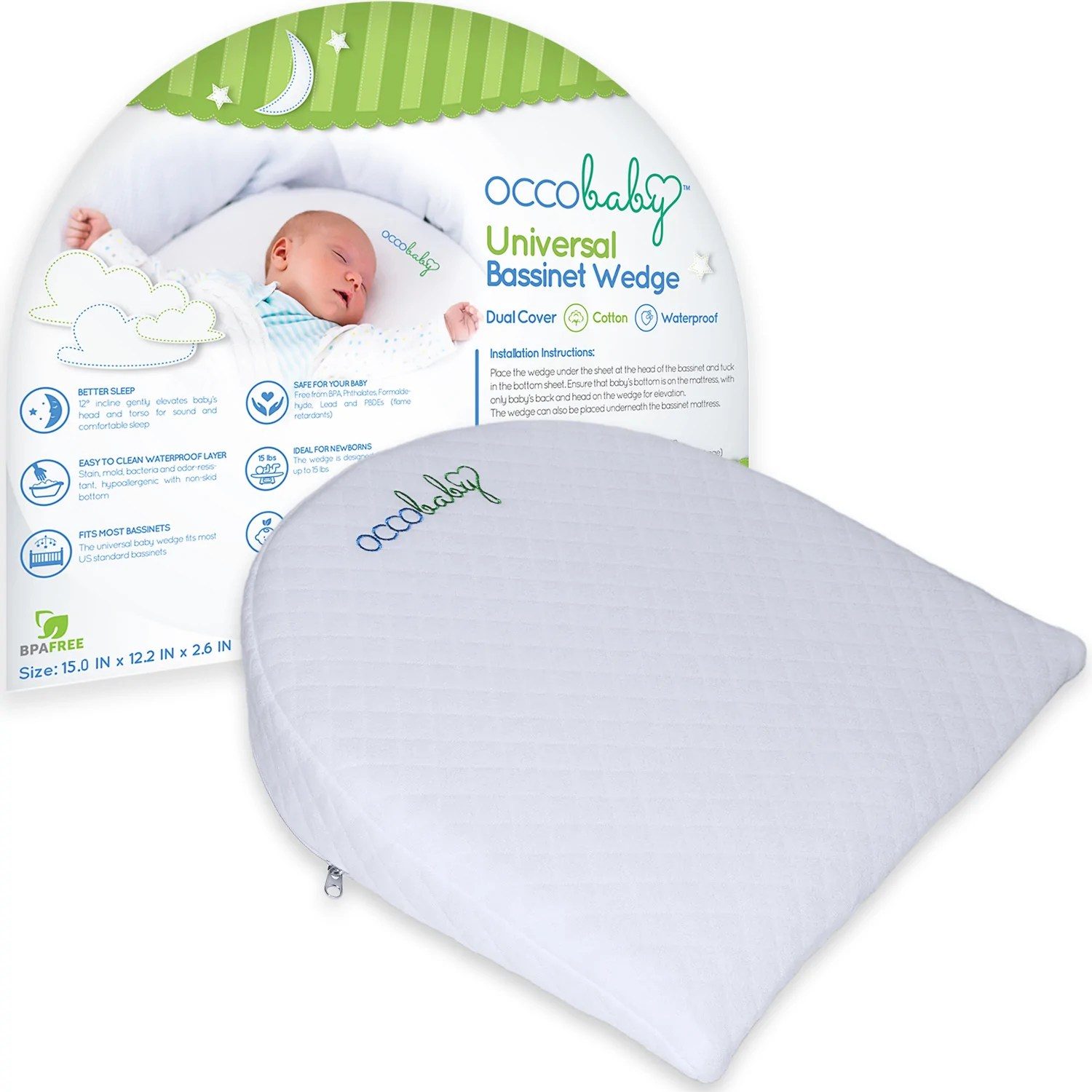 Newborn Bassinet Reflux Universal Bassinet Wedge Pillow