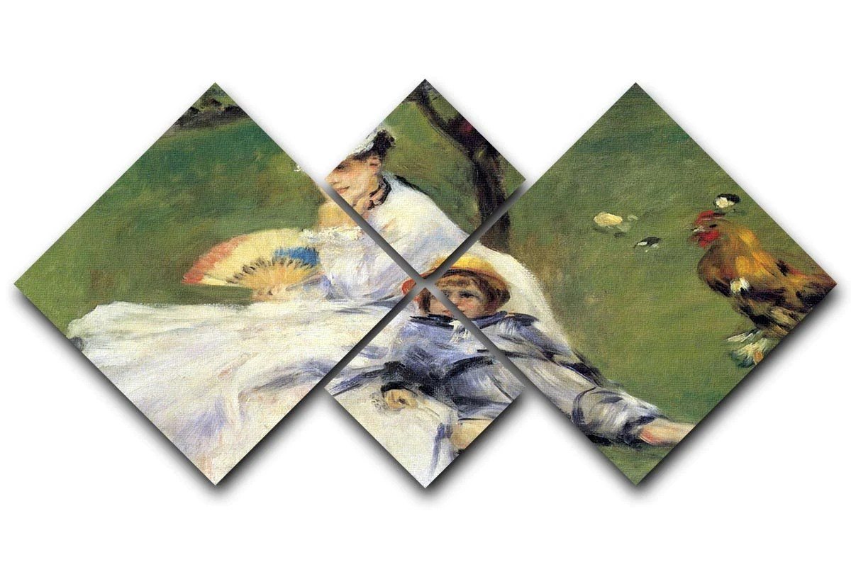 Fly Argenteuil Camille Monet And Her Son Jean In The Garden Of Argenteuil By Renoir 4 Square Multi Panel Canvas