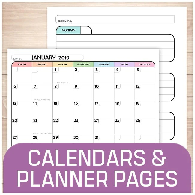 Printable Calendars and Planner Pages online at Printable Planning