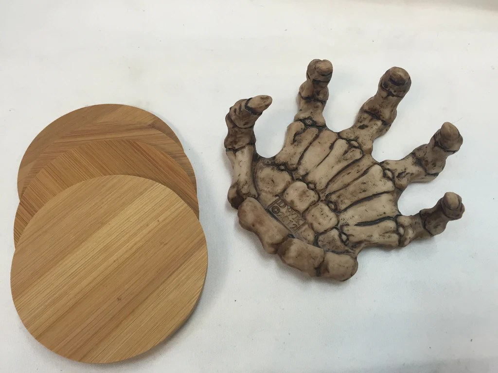 Wooden Coaster Holder Bone Skeleton Hand Wooden Coaster Holder