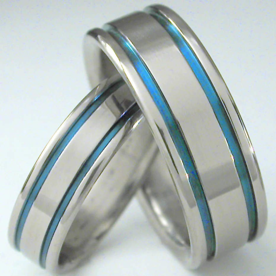 matching blue titanium wedding band set stb5 titanium wedding band matching blue titanium wedding band set stb5 Titanium Wedding and Engagement Rings