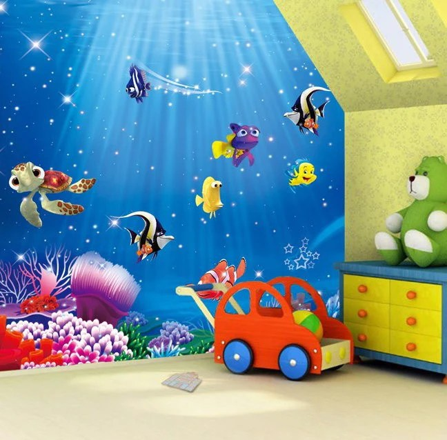3d Cartoon Animal Wallpapers Dory Nemo Cartoon Fish Wallpaper Wall Mural Kids Wallpaper