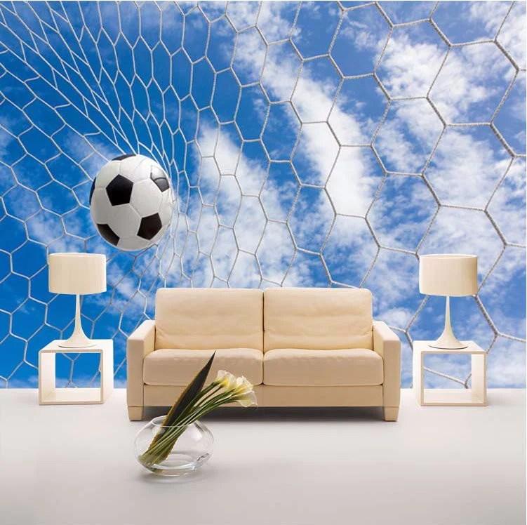 Blue Animal Print Wallpaper 3d Wallpaper Soccer Ball Net Sports Wallpaper For Walls