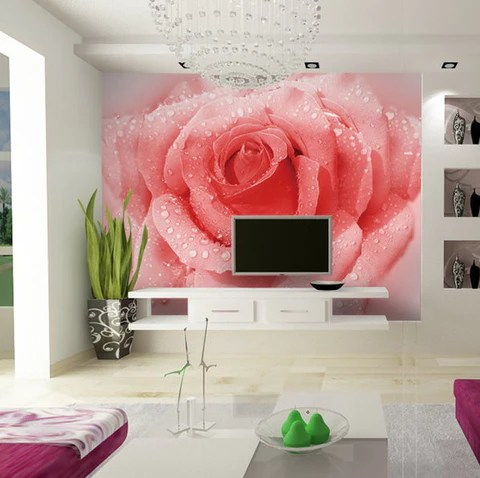 3d Wallpaper Water Drop 3d Pink Rose Design Floral Wallpaper Wall Mural