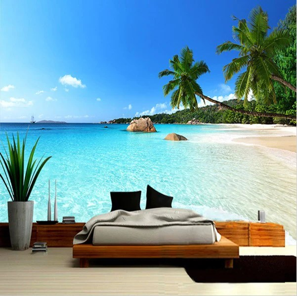 3d Beach Wallpaper For Walls 3d Beach Palm Tree Ocean Seascape Photo Wallpaper For