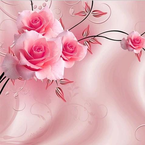 Heat Wallpaper Hd 3d Pink Roses Floral Theme Custom Photo Wallpaper Mural
