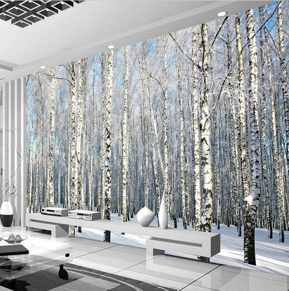 Animal Print Wallpaper For Walls 3d Winter Forest Snow Birch Trees Photo Wall Mural