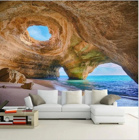 Animal Print Wallpaper For Bedrooms Customized 3d Mural Beach Reef Cave Wallpaper For Living