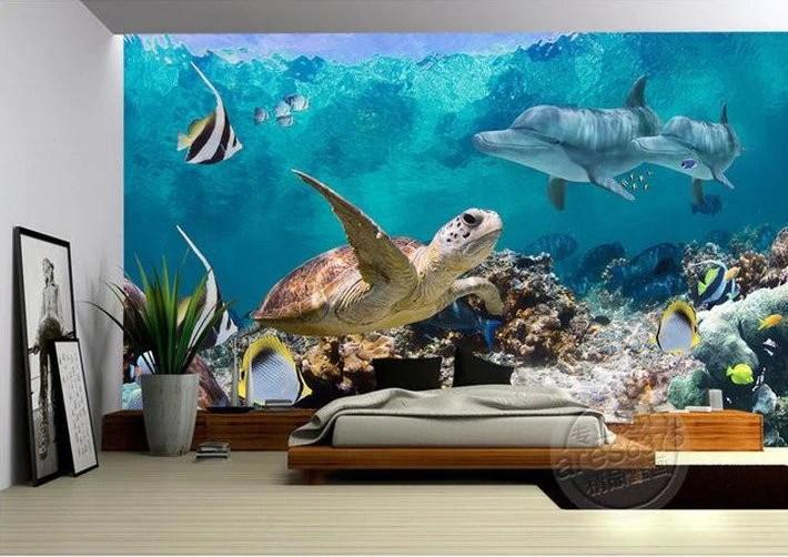 3d Wall Art Wallpaper 3d Wallpaper Underwater Fish Turtle Dolphin Wall Mural