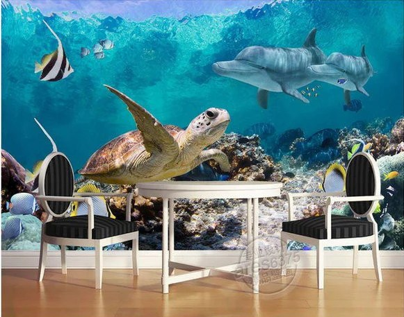 3d All Animal Wallpaper 3d Wallpaper Underwater Fish Turtle Dolphin Wall Mural