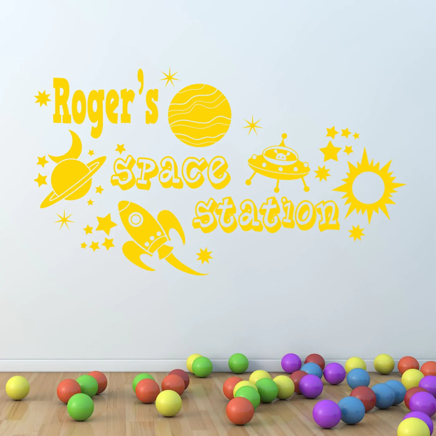 Planets Wall Art Personalised Space Rocket Planets Vinyl Wall Art Sticker Mural Decal Any Name
