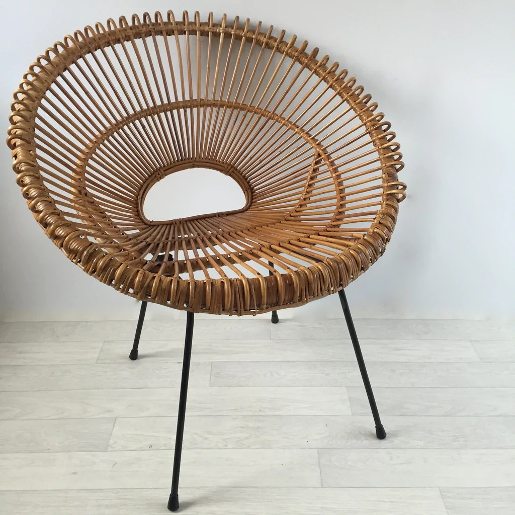 Fauteuils En Rotin Vintage Franco Albini Janine Abraham Attributed Wicker Rattan Chair