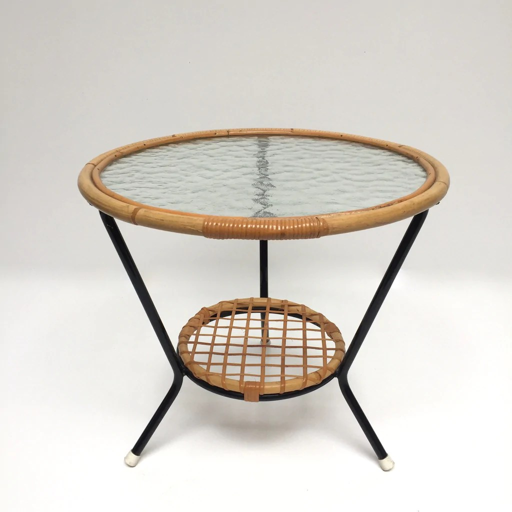 Table De Salon En Rotin 1950s Vintage Rohe Glass And Wicker Table Table Basse Vintage Rotin Et Verre Rohé Annees 50 Free Delivery Uk Livraison Gratuite France