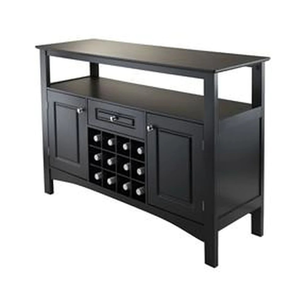 Buffet Sideboard With Wine Rack Dining Room Storage Buffet Sideboard Server Console Table In Black