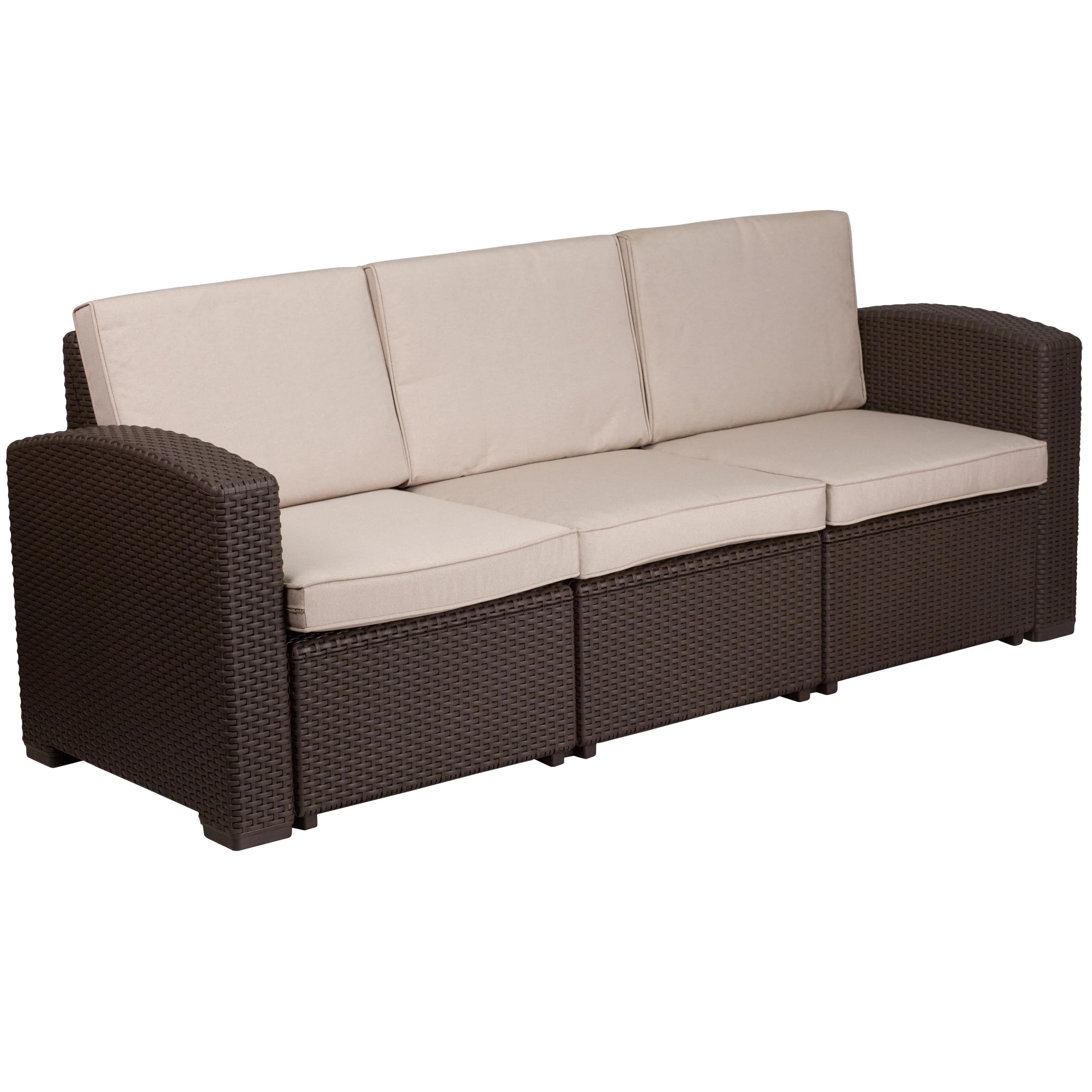 Rattan Sofa Faux Rattan Sofa With All Weather Cushions