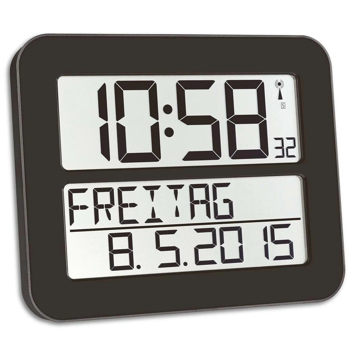 Digital Clock For Sale Buy Tfa Day Date Digital Alarm Wall Or Table Clock Black