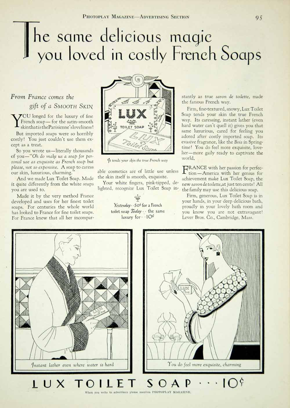 Toilette Deco Original 1927 Ad Vintage Lux Toilet Soap Art Deco French Face Skin Care Complexion Ypp3