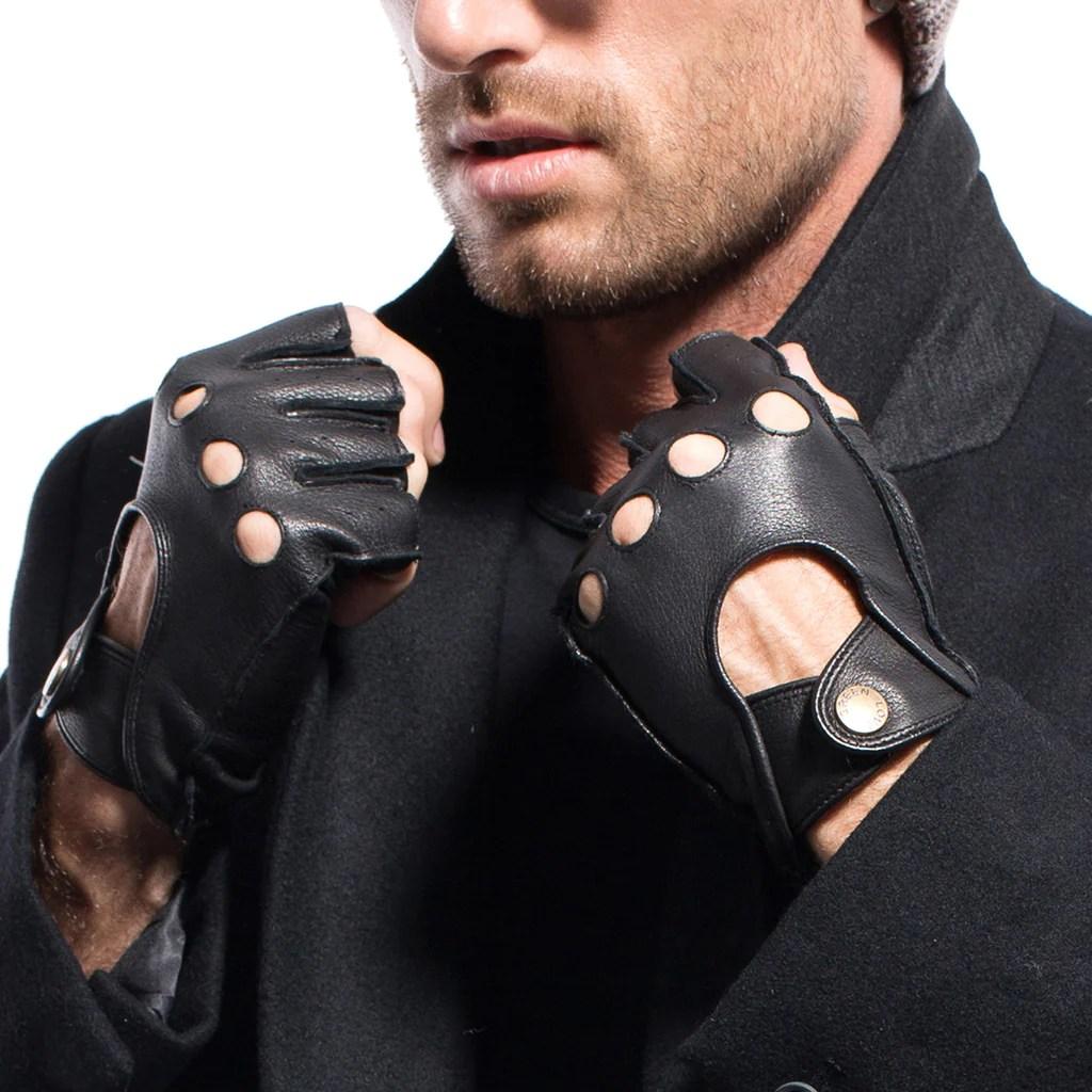 matsu x amazon men deerskin fingerless driving leather gloves unlined m1076