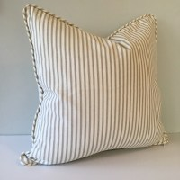 Gray Ticking Stripe Throw Pillow Cover 18x18  Southern ...
