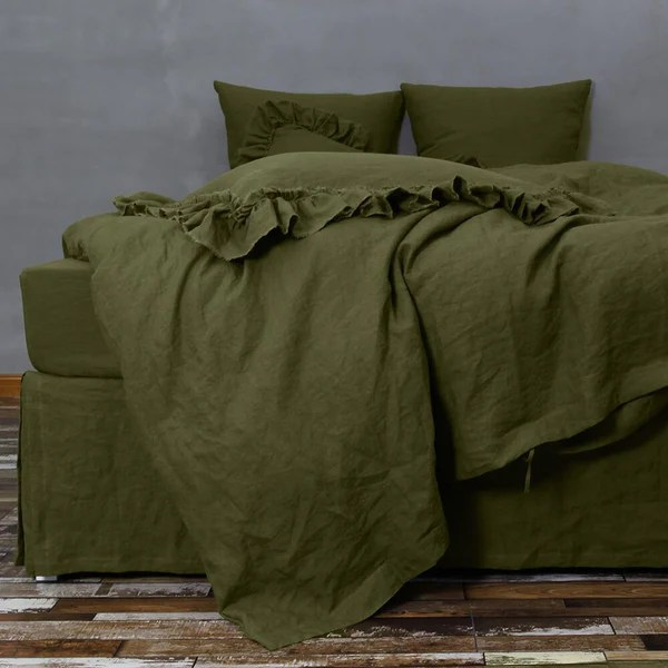 Ikea Shower Curtains Bespoke Green Linen Quilt Cover Set By Linenshed