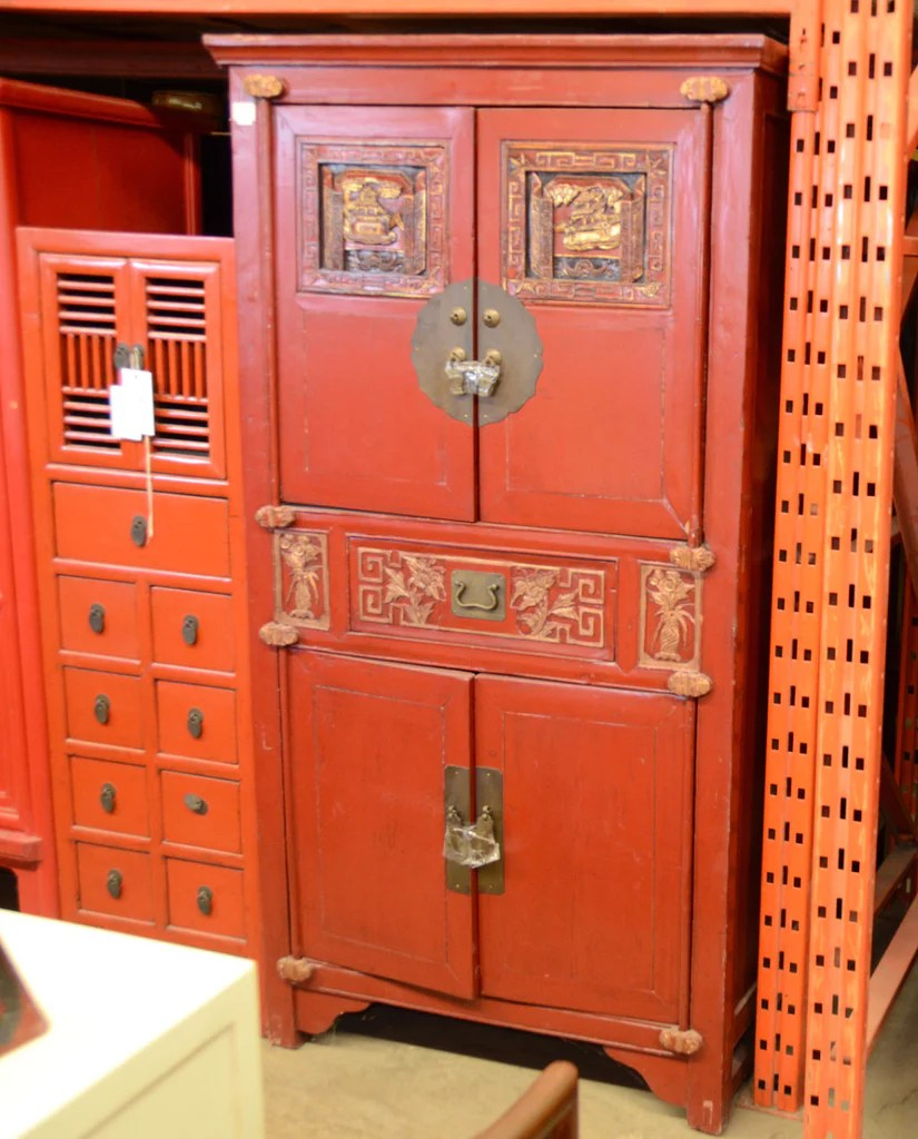 Oriental Red Cabinet Mostly Danish Furniture Ottawa