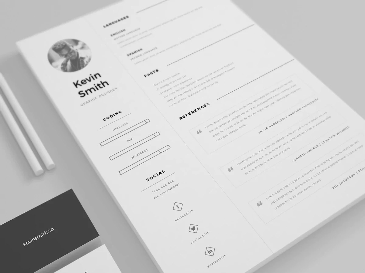 minimal resume website