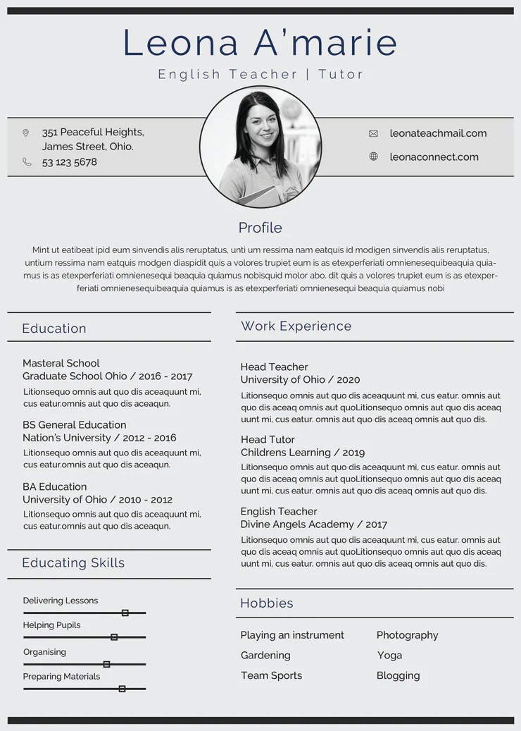 original template cv in english
