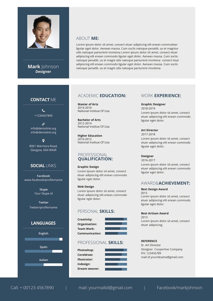 fancy cv templates free download