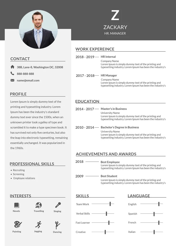 free manager resume cv indesign
