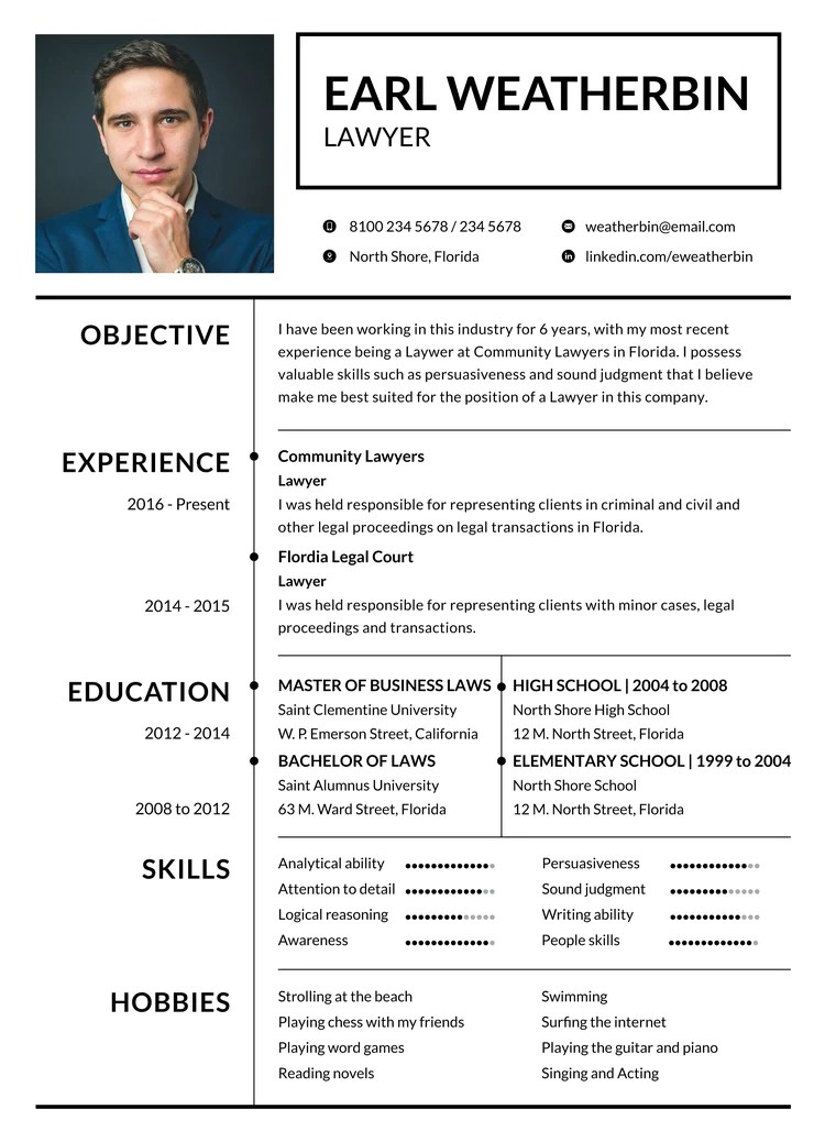 cv format for lawyers