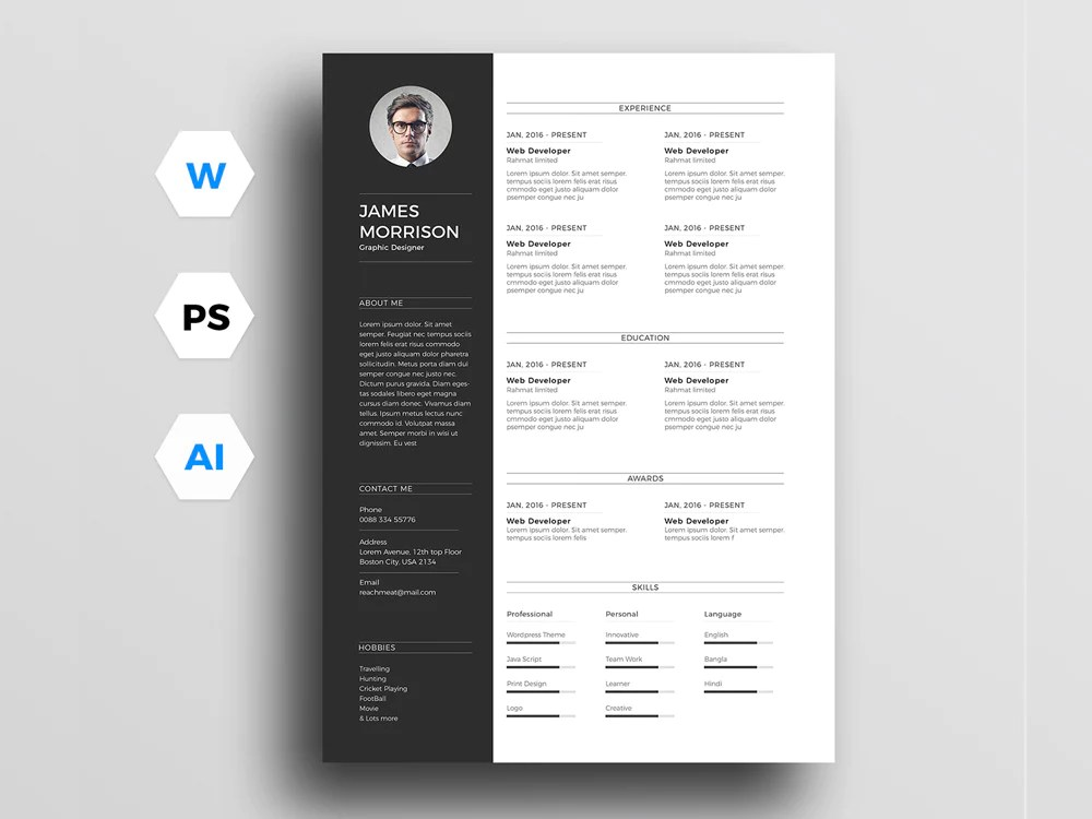 free nulled cv template photoshop