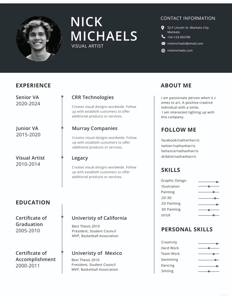 resume templates for visual artists