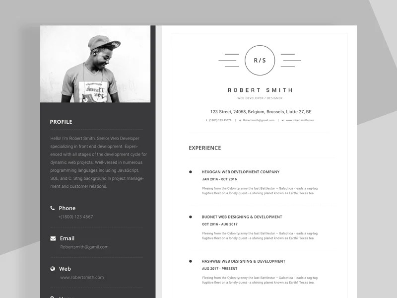 modern black and white cv format