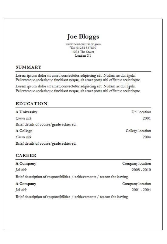 garamond resume template word