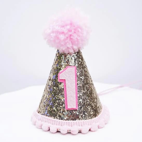 Toddler 2 Years Old Gold Glitter Sparkles Pink 1st Birthday Girl Cone Hat