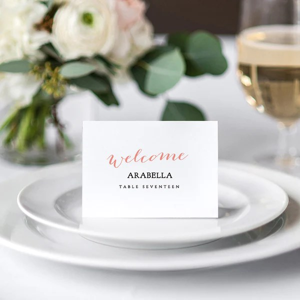 Wedding Place Cards - With Guest Names Printed Or Blankgold