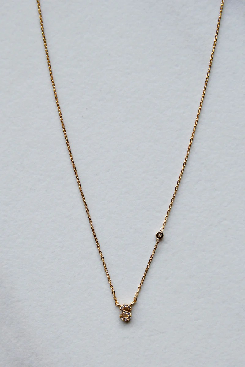 Gold S Micro Gold S Initial Necklace
