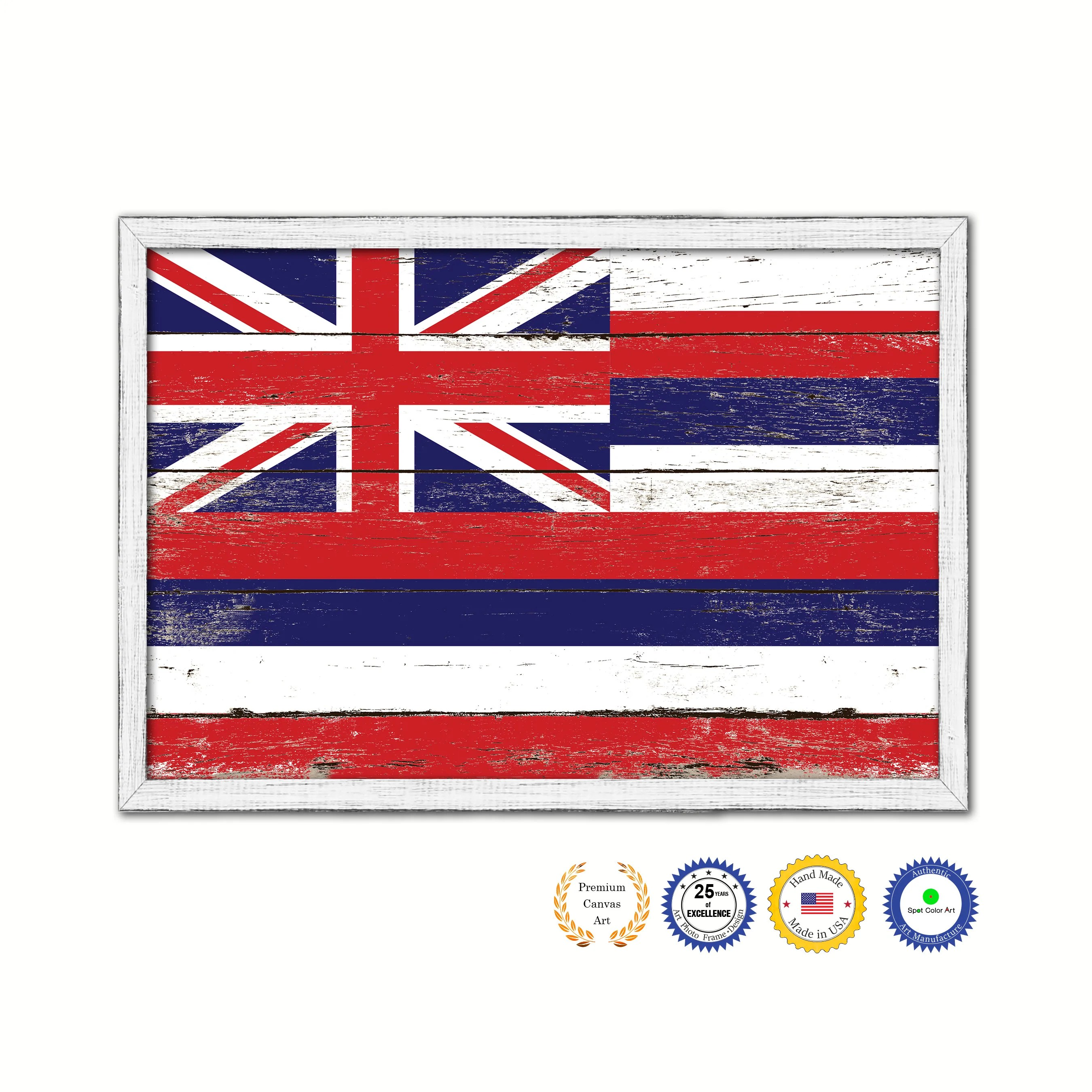 Shabby Chic Shop Hawaii State Flag Shabby Chic Gifts Home Decor Wall Art Canvas Print White Wash Wood Frame