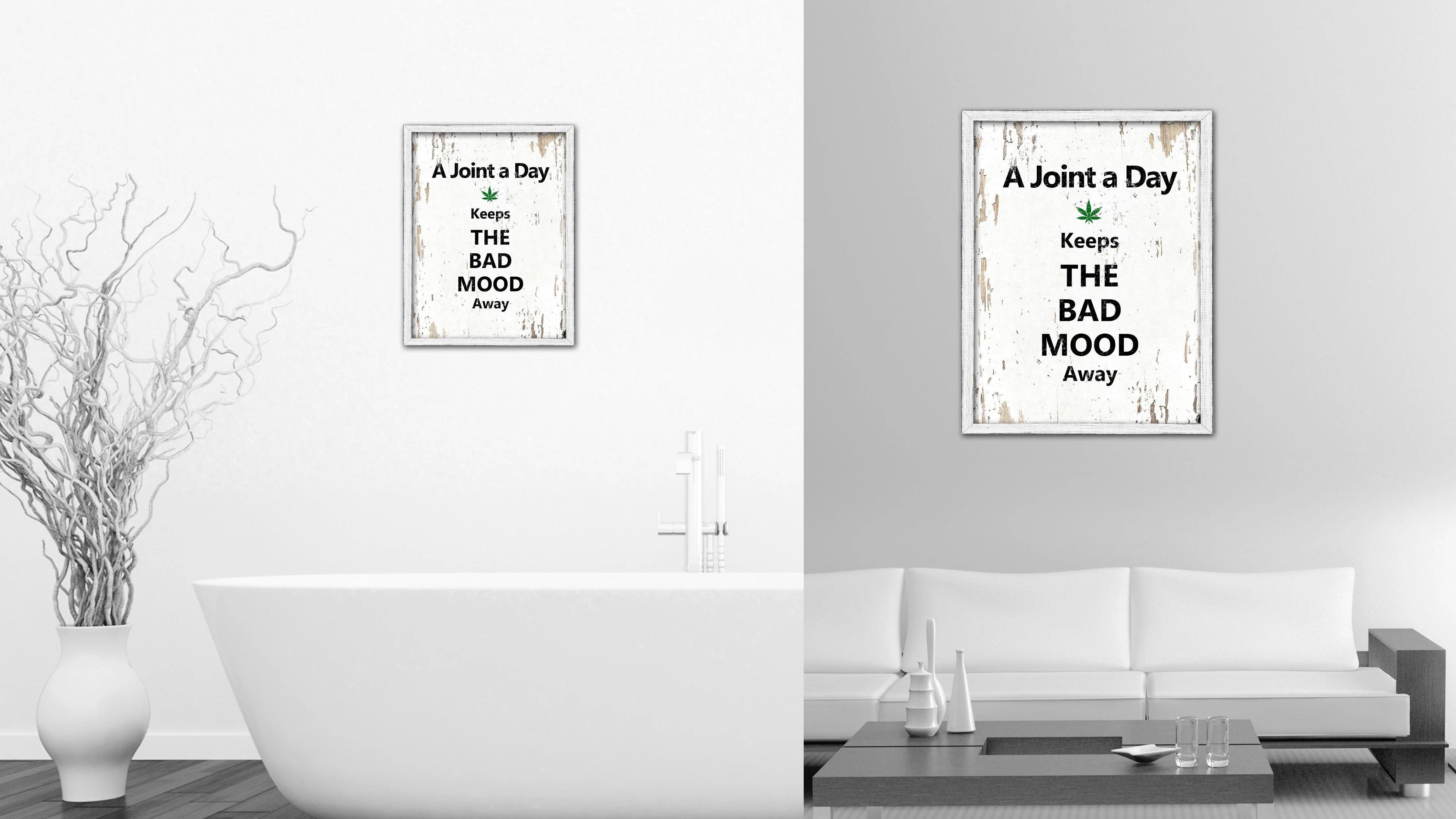 Vintage Bad A Joint A Day Keeps The Bad Mood Away Vintage Saying Gifts Home Decor Wall Art Canvas Print With Custom Picture Frame