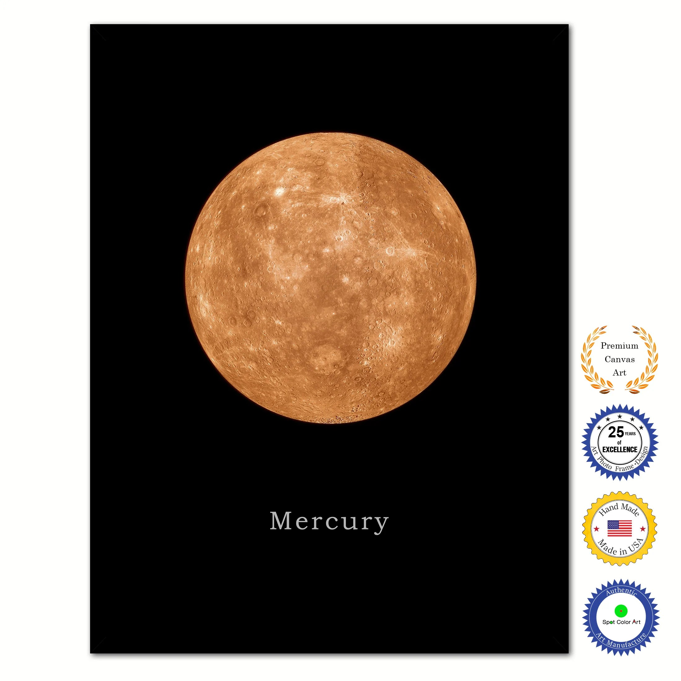 Planets Wall Art Mercury Print On Canvas Planets Of Solar System Black Custom Framed Art Home Decor Wall Office Decoration