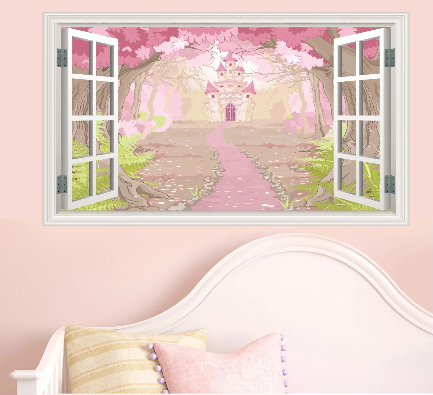 Innovative Enchanted Fairytale Castle Window Scene Wall Stickers Childrens Bedroomdecal Mural Transfers Window Scenes Stickers On Your Wall To Window To Wall Meme To Window To Wall Clean houzz-02 To The Window To The Wall